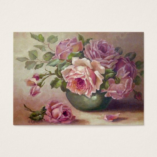 Vintage, Beautiful Pink Roses,Custom Business Card