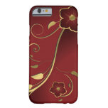Vintage Beautiful Red & Gold Floral Vector