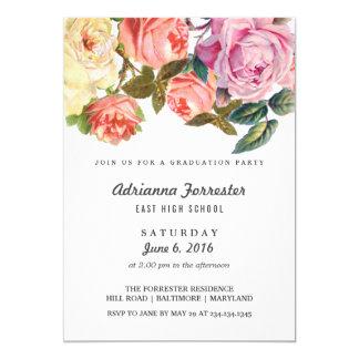 Vintage Beautiful Roses Graduation Party 13 Cm X 18 Cm Invitation Card
