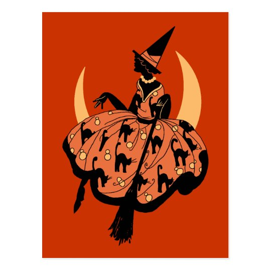 Vintage Beautiful Silhouette Witch Postcard