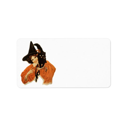 Vintage Beautiful Witch with Black Cat On Shoulder Label