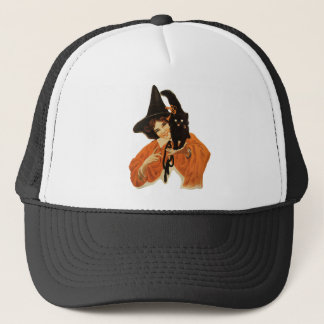 Vintage Beautiful Witch with Black Cat On Shoulder Trucker Hat