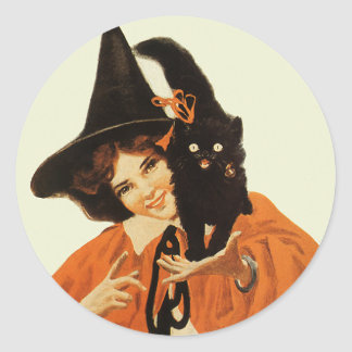 Vintage Beautiful Witch with Cute Black Cat Round Sticker