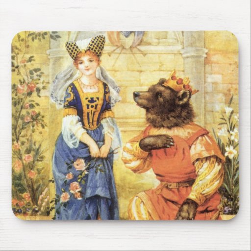 Vintage Beauty and the Beast Fairy Tale Mouse Pads