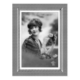Vintage Beauty - Flower Girl - in black & white Postcard