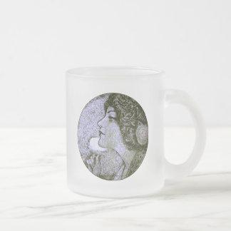 Vintage Beauty Frosted Glass Mug