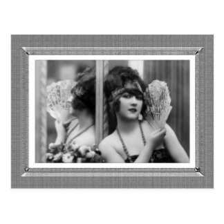 Vintage Beauty - Reflection - in black & white Postcard