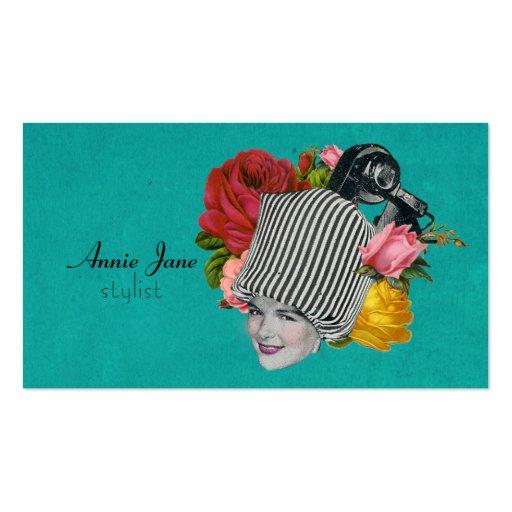 Vintage Beauty Shop Shabby Roses Stylist Card Business Card Template