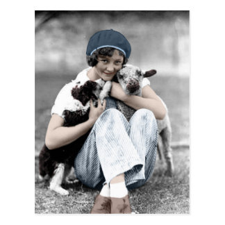 Vintage Beauty With Animals Postcard