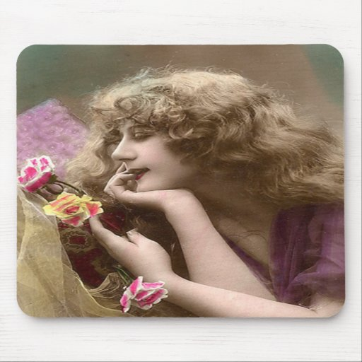Vintage Beauty with Messy Hair Mouse Pads