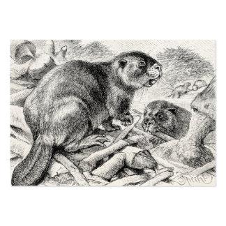 Vintage Beaver Illustration Retro Beavers and Dam Business Card