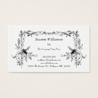 Vintage Bee and Bird Elegant Floral Scroll Custom Business Card