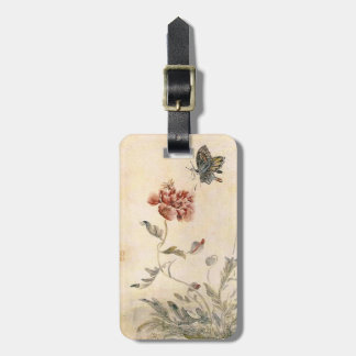 Vintage Bee, Butterfly and Poppy Watercolor Luggage Tag