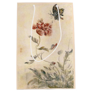 Vintage Bee, Butterfly and Poppy Watercolor Medium Gift Bag