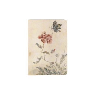 Vintage Bee, Butterfly and Poppy Watercolor Passport Holder