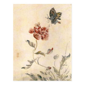 Vintage Bee Butterfly And Poppy Watercolor Postcard