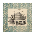 Vintage Bee Hive and Damask Wood Wall Art