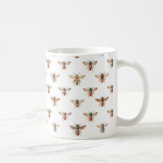 Vintage Bee Illustration Pattern Coffee Mug