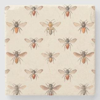 Vintage Bee Illustration Pattern Stone Coaster