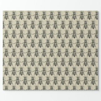 Vintage Bee Illustration Pattern Wrapping Paper