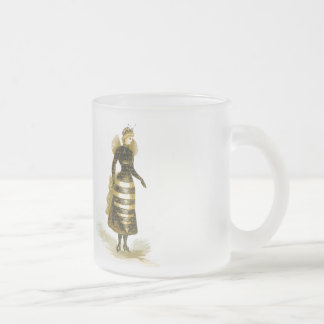 Vintage Bee Lady Frosted Glass Coffee Mug