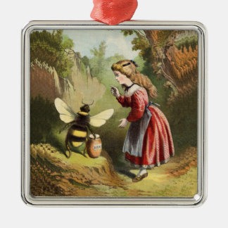 Vintage Bee Little Girl Honey Pot Christmas Ornament