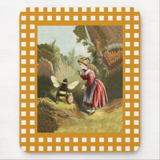 Vintage Bee Little Girl Honey Pot Mouse Mat