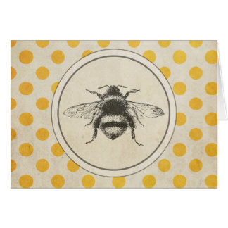 Vintage Bee on Yellow Dots Greeting Card
