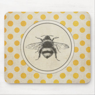 Vintage Bee on Yellow Dots Mouse Mat