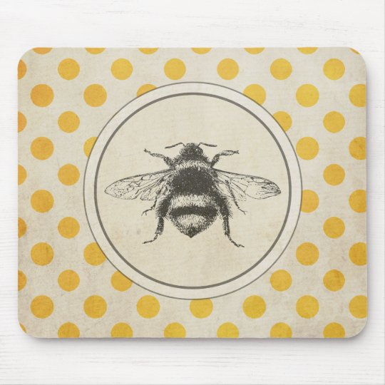Vintage Bee on Yellow Dots Mouse Pad