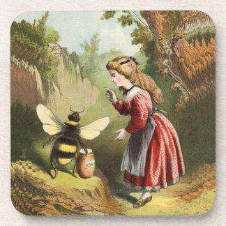 Vintage Bee Victorian Girl Honey Pot Forest Beverage Coasters