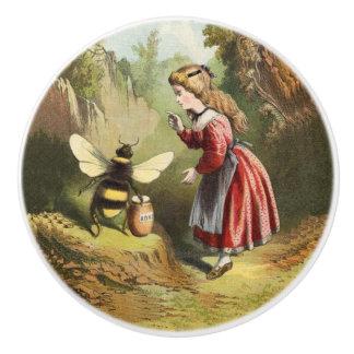 Vintage Bee Victorian Girl Honey Pot Forest Ceramic Knob