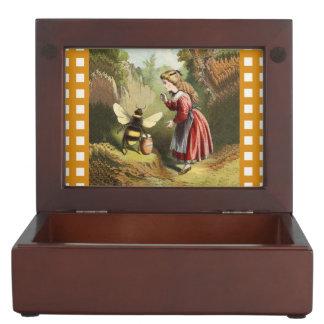 Vintage Bee Victorian Girl Honey Pot Forest Keepsake Box