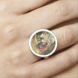 Vintage Bee Victorian Girl Honey Pot Forest Ring