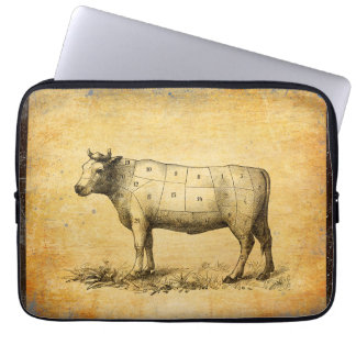 vintage beef chart with numbered cuts laptop sleeve