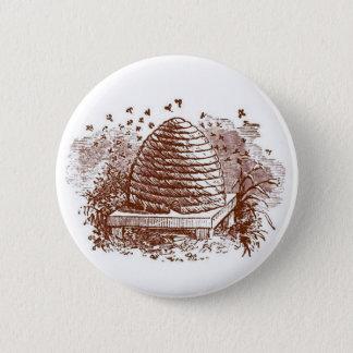 Vintage Beehive Beekeeping 6 Cm Round Badge