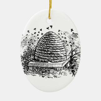 Vintage Beehive Honey Bees Beekeeping Christmas Ornament