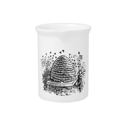 Vintage Beehive Honey Bees Beekeeping Drink Pitcher