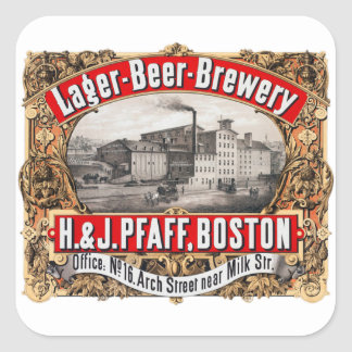 Vintage Beer Brewery H&J Pfaff Lager Boston Square Sticker