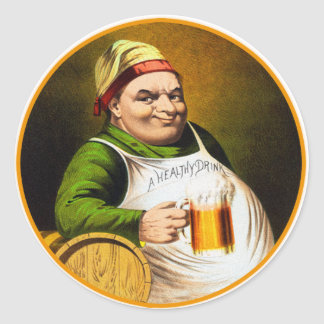 Vintage Beer German Beer Drinker Healthy Drink Round Sticker