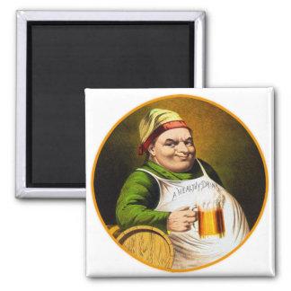 Vintage Beer German Beer Drinker Healthy Drink Square Magnet
