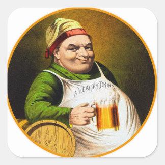 Vintage Beer German Beer Drinker Healthy Drink Square Stickers