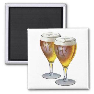 Vintage Beer Glasses Beer Drinker Healthy Drink Square Magnet