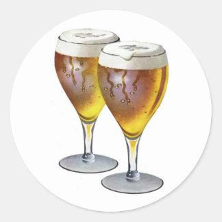 Vintage Beer Glasses Beer Drinker Healthy Drink Round Sticker