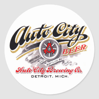 Vintage Beer Logo Label Auto City Beer Detroit Round Sticker