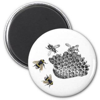 Vintage Bees 6 Cm Round Magnet