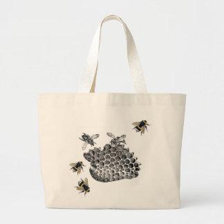 Vintage Bees Large Tote Bag