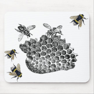 Vintage Bees Mouse Mat