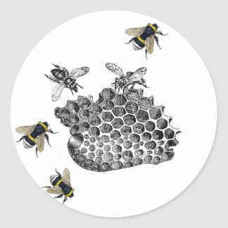 Vintage Bees Round Sticker
