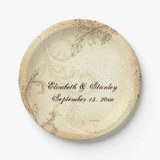 Vintage beige and brown scroll leaf wedding 7 inch paper plate
